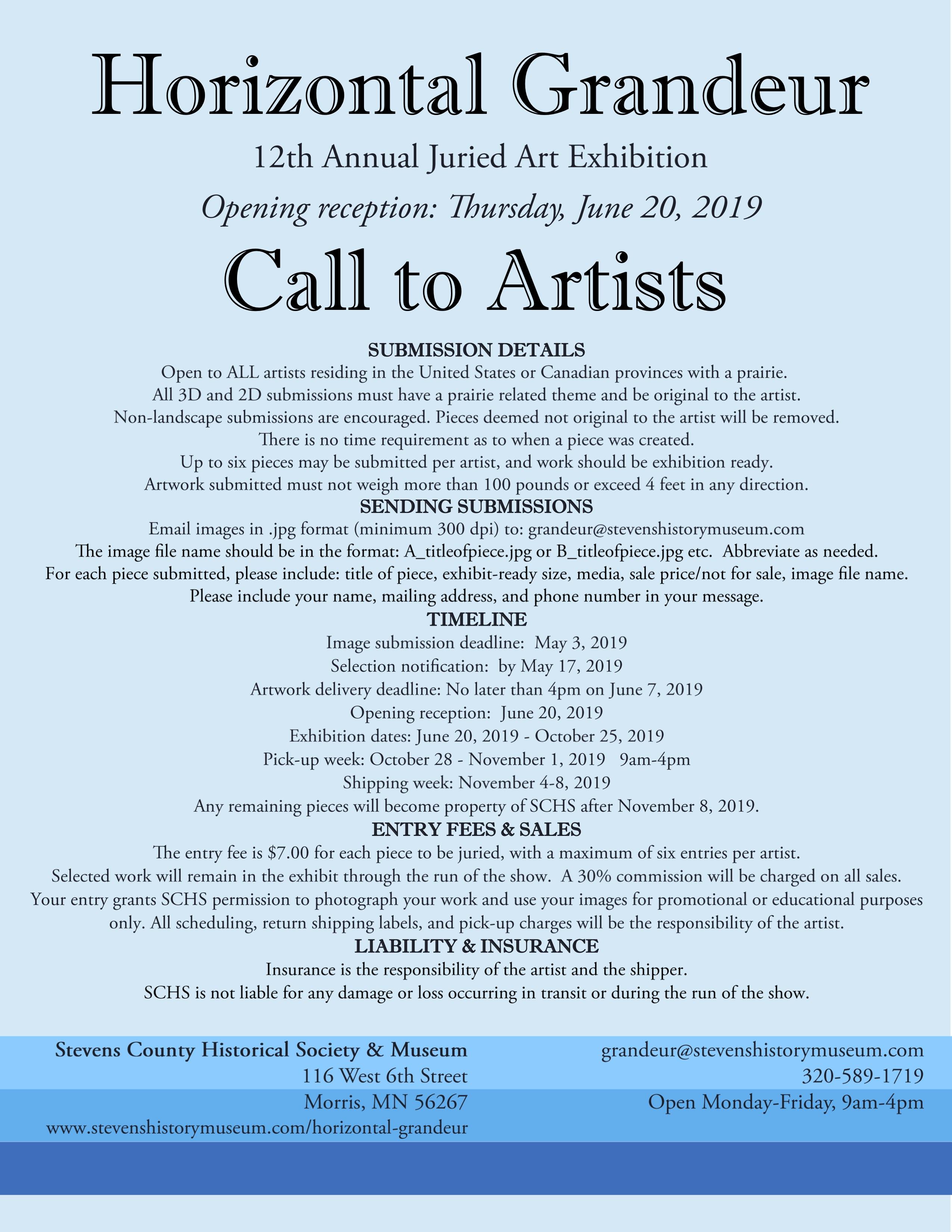 Horizontal Grandeur Call for Submissions - Arts South Dakota